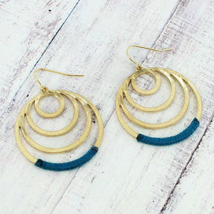 Jewelry - Teal Fabric-Wrapped Circle Earrings